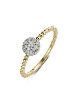 Pavé geelgouden ring