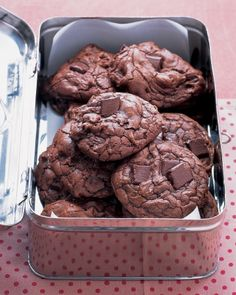 Outrageous Chocolate Cookies...I like the old tin as a treat box