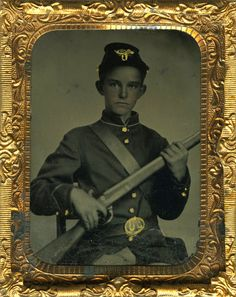 Shockingly Young Civil War Boy Soldier Armed w Rifle Perfectly posed Tintype