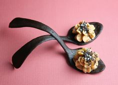 Sprinkle Bakes: Peanut Butter Mousse in Tuile Cookie Spoons
