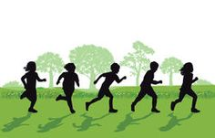 Children silhouettes running in grass Stock Photos