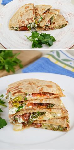 Herbed Goat Cheese, Roasted Tomato, and Asparagus Quesadilla. New dinner recipe to try.