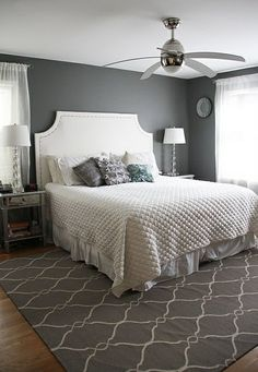 Grey white and metallic bedroom. Benjamin Moore Amherst Grey..