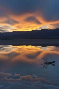 Sunset with Reflections, Cotton Ball Basin by Judith Zimmerman : Landscape Photography, Art Photography, Travel Photography, Park Landscape, Death Valley National Park, Cool Art, Nice Art, Beautiful Sunset, Zimmerman