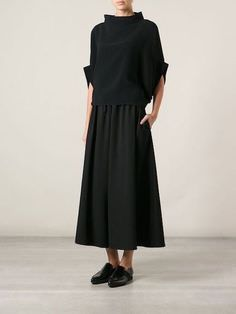 Yohji Yamamoto shortened the pants with a wide leg -You can find Yohji yamamoto and more on our website.Yohji Yamamoto shortened the pants with a wide leg - Yohji Yamamoto, Mode Outfits, Fashion Outfits, Fashion 2018, Fashion Brands, Cropped Wide Leg Trousers, Wide Legged Pants, Looks Style, My Style