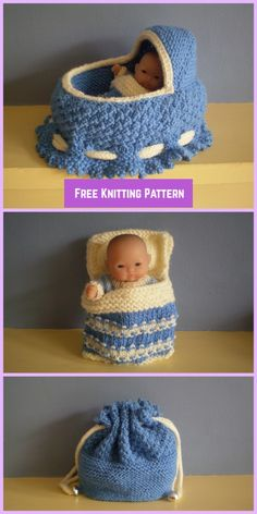 Knit Cradle Bag with Bedding Free Knitting Pattern