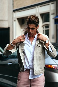 Men's style: a softer look of tan, white and pink