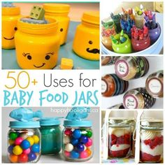 50+ fun and creative ways to use Baby Food Jars!  Storage, organization, treats, party favours and so much more - Happy Hooligans
