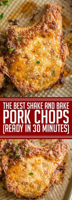 Shake and Bake Pork Chops with homemade shake and bake mix baked on a sheet pan. A perfect homemade natural copycat with dinner done in just. Quick Pork Chop Recipes, Pork Recipes, Cooking Recipes, Recipe For Shake And Bake Pork Chops, Dinner Recipes With Pork Chops, Best Pork Chop Recipe, Recipes Dinner, Dessert Recipes, Larissa Reis