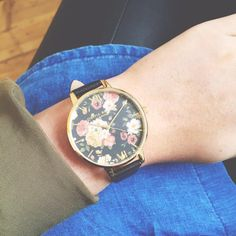 Our Winter Garden Black and Gold is perfect teamed with denim and khaki Olivia Burton, Winter Garden, Bracelet Watch, Watches, Denim, My Style, Bracelets, Leather, Gold