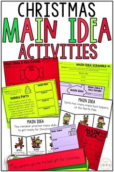These Christmas main idea activities are perfect for first grade and 2nd grade classrooms! Finding the main idea and details in a hands on way is always fun for small groups and guided reading! Included are creative Christmas puzzles, build a paragraph with topic sentences, worksheets, Christmas holiday graphic organizers, and more! Use the organizers with Christmas books of your choice, too! Great for nonfiction main idea and main topic units!