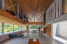 Gerês House, Carvalho Araújo, Portugal, green architecture, concrete house, timber facade, swimming pool, wooden mezzanine, natural light