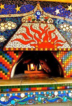 ZenJeni Mosaics my pizza oven mosaic is coming along...