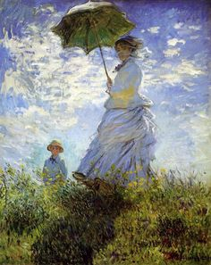 "Capturing the moment, capturing the effects of sunlight... here's a perfect example of Impressionism ""Woman with a Parasol"" a portrait of Madame Monet and her son by Claude Monet 1875"