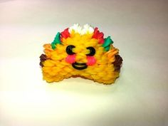 Rainbow Loom - 3D Happy TACO Charm. Designed and loomed by Ellen Carpenter at feelinspiffy. Click photo for YouTube Tutorial. 09/08/14.
