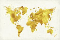 Gold World Map Canvas Print by bysamantha Gold World Map, World Map Art, World Map Canvas, Artwork Prints, Canvas Art Prints, Framed Art Prints, Framed Canvas, World Map Wall Decal, Wallpapers Tumblr
