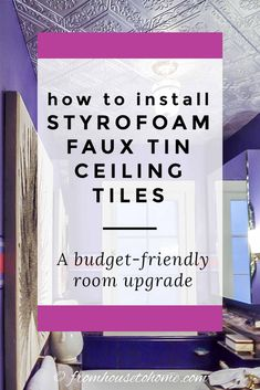 how to styrofoam install faux tin ceiling tiles: a budget friendly room upgrade Styrofoam Ceiling Tiles, Faux Tin Ceiling Tiles, Tin Tiles, Home Ceiling, Ceiling Decor, Ceiling Ideas, Ceiling Fan, Covering Popcorn Ceiling, Light Fixture Covers
