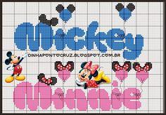 Dinha Ponto Cruz: Monograma Minnie e Mickey ponto cruz