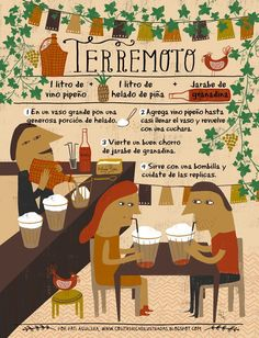 Cositas Ricas Ilustradas por Pati Aguilera: Terremoto, trago tradicional chileno Chilean Recipes, Chilean Food, Red Wine Benefits, Alcohol And Drug Abuse, Cocktail Illustration, Cocktail Drinks, Potpourri, Bartender, Party Time