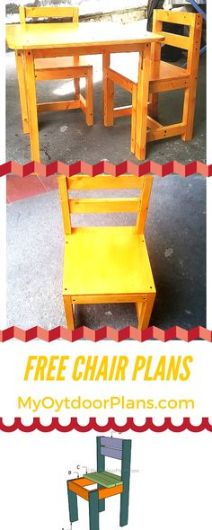 Easy to follow kids chair plans! Step by step instructions for you to build a wood kids chair with the coresponding table! myoutdoorplans.com #diy #kidsfurniture