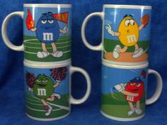 M & M Candy 4 Mugs/cups Yellow,Green,Blue & Red Sports theme 2003  D7 #MM
