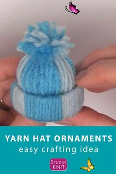 Love this adorable craft! Winter Yarn Hat Christmas Ornaments are an easy project to make with your friends and family because there are NO knitting skills required. Get full written instructions and video tutorial by Studio Knit. #PintoWin2019 #StudioKnit #yarnhat #ornament  #christmasornament<br>