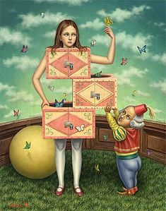 Surrealism and Visionary art: Shiori Matsumoto, She was born in1973 in the Kagawa-prefecture of Japan. She majored in interior design and Japanese woodcraft in high school. She studied Western art history and oil painting in The Kyoto Saga University of Arts. She is influenced by surrealism, symbolism, modern illustration, and many things in Japanese subculture.