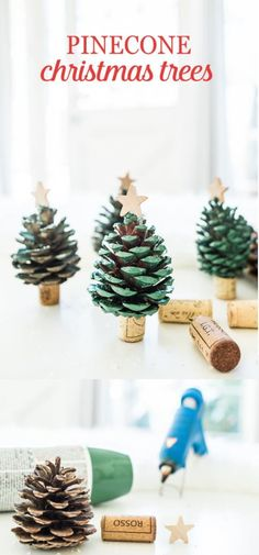 27 Quick and Easy Pinecone Christmas Ornaments - FarmFoodFamily Easy Christmas Ornaments, How To Make Christmas Tree, Christmas Crafts For Kids, Simple Christmas, Holiday Crafts, Christmas Time, Natural Christmas, Christmas Tree Pinecones, Christmas Tree Basket