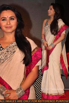 Rani Mukherjee Saree | Rani Mukherjee in a red and white lace saree