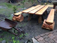 Rustic picnic table- I want you on my back patio!