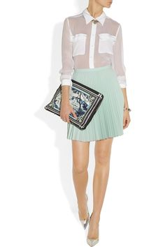 Oh Dear... I need this. Mary Katrantzou clutch/ laptop case. Cute look too. | Kathmandu printed leather pouch | NET-A-PORTER.COM