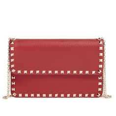Women's Valentino 'Rockstud' Calfskin Leather Shoulder Bag (126535 DZD) ❤ liked on Polyvore featuring bags, handbags, shoulder bags, rosso, red handbags, crossbody shoulder bags, valentino handbags, crossbody purses and over the shoulder purse