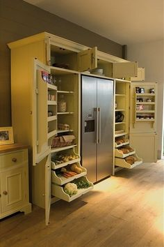 """Original caption: """"Neptune Grand Larder Unit: An elegant solution for all types of kitchen storage."""" Yeah, right, your kitchen would have have one long empty wall on it. Still like the idea. Maybe in the remodel. Kitchen Organization, Kitchen Storage, Pantry Storage, Food Storage, Organized Kitchen, Storage Organization, Extra Storage, Smart Storage, Pantry Closet"""