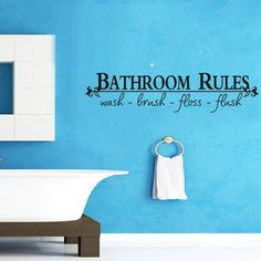 Bathroom Rules Home Decoration Creative Quote Wall Decals Decorative Adesivo De Parede Removable Vinyl Wall Stickers ZY8044