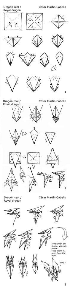 I am dragon; hear me roar.  Royal dragon origami diagram by ~Pepius on deviantART