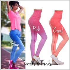 "Ombré Fold Over Waist Leggings On trend ombré high waist fold over leggings with contrast cover stitching. In three fabulous colors pink, blue and coral. Pair with tees, tanks or sweatshirts. Made of nylon/poly spandex blend. Size S, M, L, XL.                            Small Inseam 24"" Waist 25.5 Hips 30"" Medium Inseam 24"" Waist 27.5 Hips 30"" Large  Inseam 24.5"" Waist 28.5 Hips 32"" XLarge  Inseam 24"" Waist 31 Hips 34"" Threads & Trends Pants Leggings"