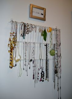Another Pinterest inspired project to organize my jewelry. Close white wire shelf and used 3M hooks to hang it