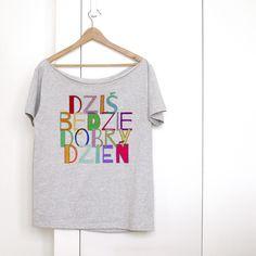 DOBRY DZIEŃ KRÓTKI SZARY OVERSIZE - onemugaday - Koszulki i bluzy