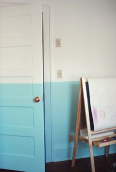 DIY Half painted wall (or-painted with waves, to look like ocean)