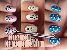 3 Unhas Decoradas Com Grampo de Cabelo - Nails Art with hair clip  | Ger...