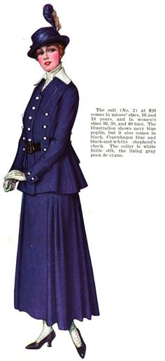 Woman's Home Companion, March 1916 Skirt: Side-pleated detail with tops of pleats stitched down. Jacket: Buttons and strap detail, both front and back as well as cuffs. Belt interwoven.