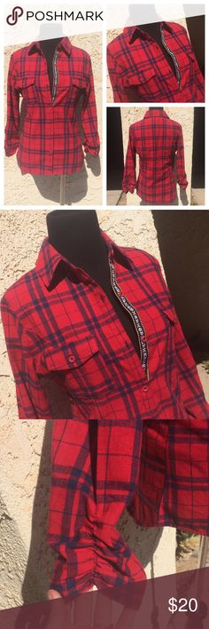 Red Button Down Flannel With Tribal Button Detail Great details added to make a flannel shirt stand out! Simple red and blue plaid. 2 breast pockets. Elastic ruching at the sleeves (3/4). Chevron/tribal stitching detail along the buttons - see picture. ⛔️ some pilling on the fabric ⛔️ Tops Button Down Shirts