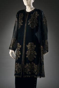 Woman's Evening Jacket  Mariano (Jose Maria Bernardo) Fortuny (Spain, active Italy, 1871-1949)  Italy, circa 1920s  Costumes; principal attire (upper body)  Silk gauze, stencilled, glass beads  Center back length: 36 1/2 in. (92.7 cm)  Gift of Mrs. Evelyn Burgur (M.74.2.1)  Costume and Textiles