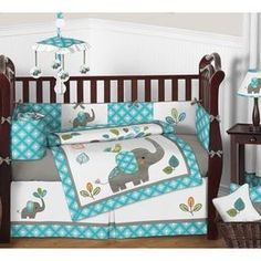 Sweet Jojo Designs Mod Elephant Collection Multicolor Cotton/Microsuede 9-piece Crib Bedding Set - Free Shipping Today - Overstock.com - 19299047 - Mobile