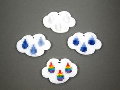 Cross stitch pendant blank Raincloud in white by Beadeux on Etsy