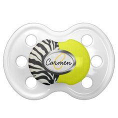 Image of zebra print and neon yellow monogram pacifiers