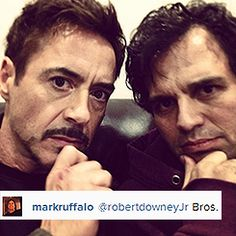 Science Bros selfie from the Avengers 2 set. Tony Stark and Bruce Banner re-assemble!