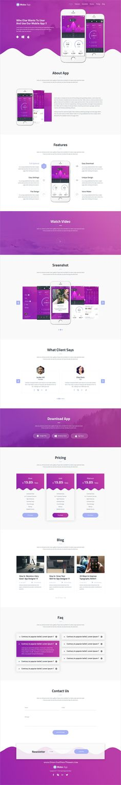 Mobo app is clean and modern design #PSD template for #onepage creative #app landing page website to live preview & download click on Visit