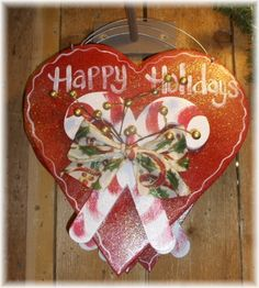 Christmas Candy Cane Wood Sign-christmas,candy cane,wood,sign,holiday,bow,heart,red