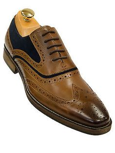 Steve Madden Mens Tan Blue Updated Wing Tip Leather Lace Up Dress Trending Shoes